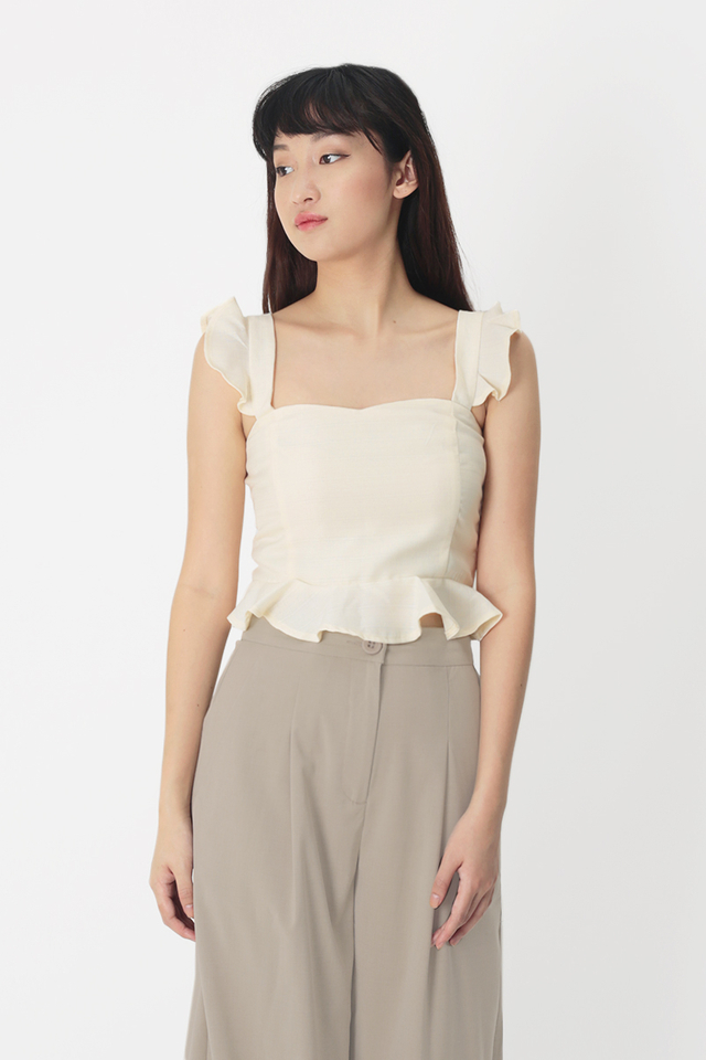 VANECIA FLUTTER TOP IN IVORY