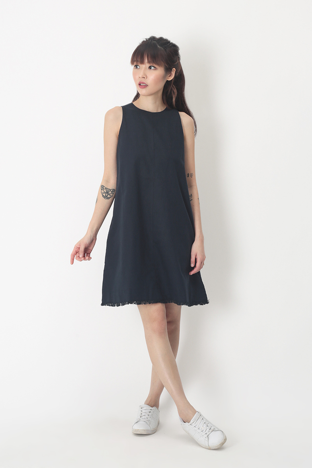 ALESSA LINEN DRESS IN NAVY