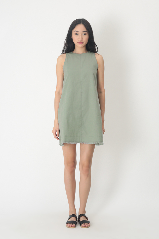 ALESSA LINEN DRESS IN SAGE
