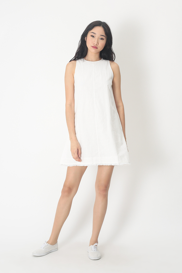 ALESSA LINEN DRESS IN WHITE