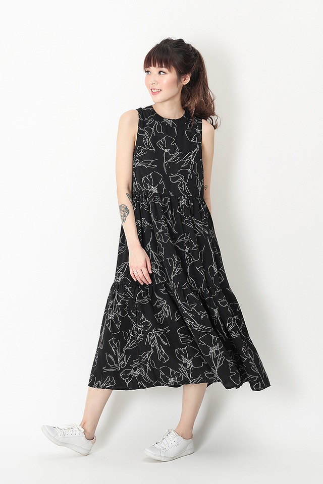 DARCEY ABSTRACT TIER DRESS IN BLACK