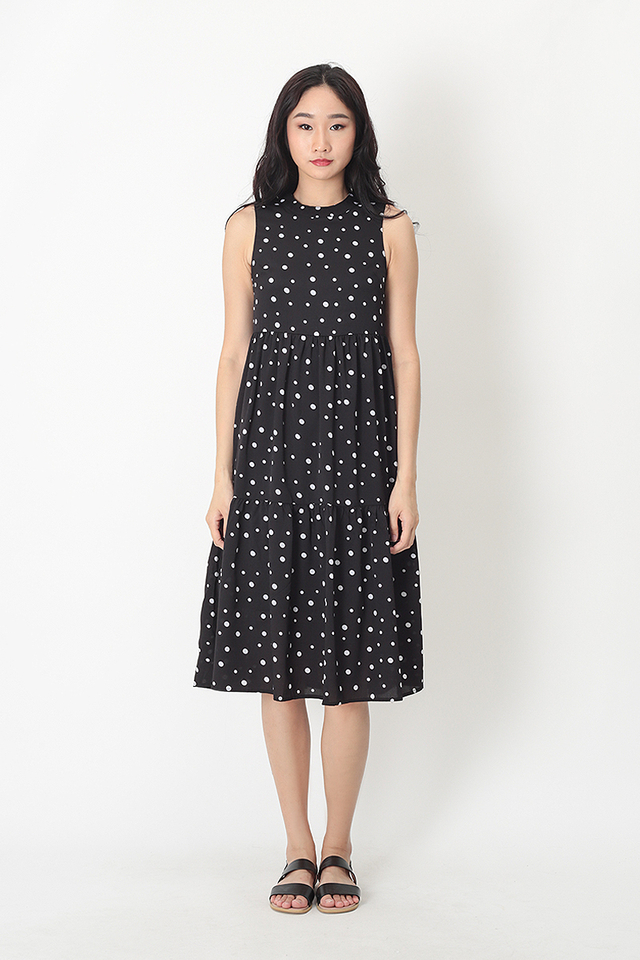 DARCEY POLKADOT TIER DRESS IN BLACK