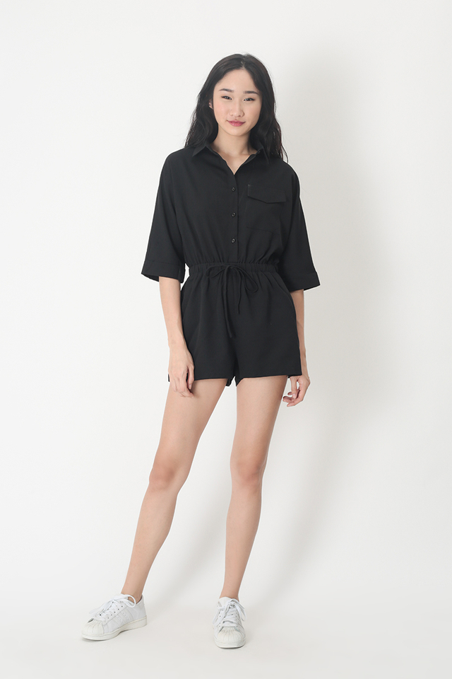 EDIE DRAWSTRING ROMPER IN BLACK