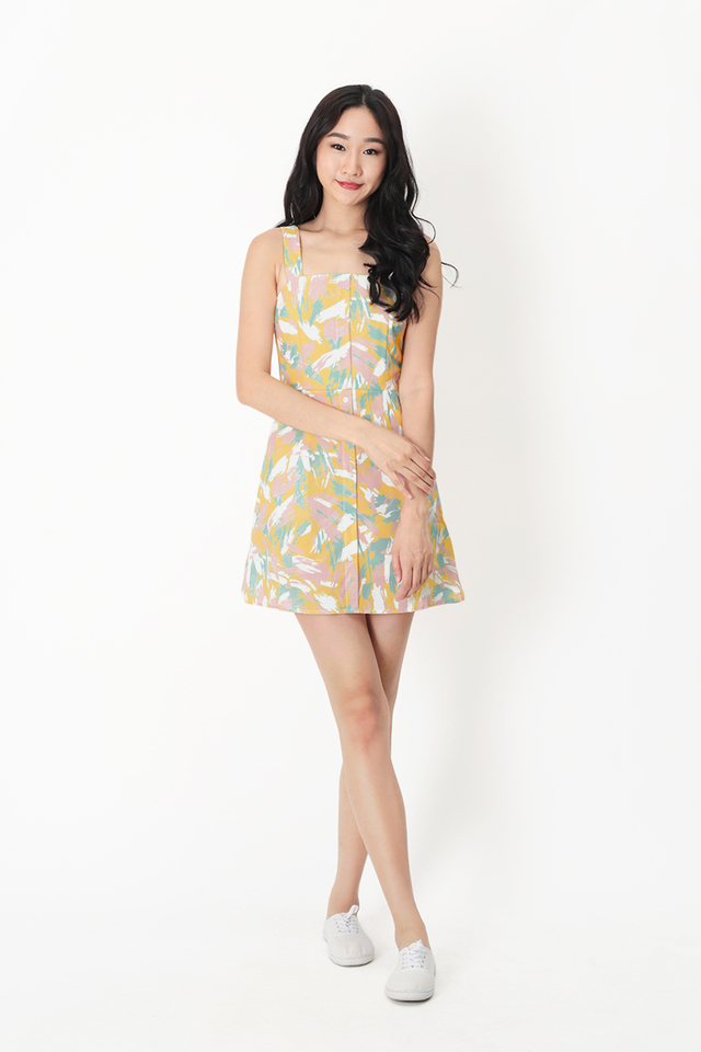 HARLOW PASTEL ROMPER DRESS IN PRIMROSE YELLOW