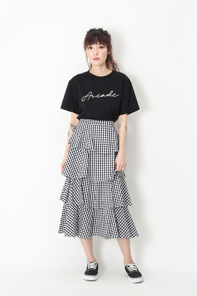 ICING ON THE CAKE GINGHAM MIDI SKIRT IN WHITE