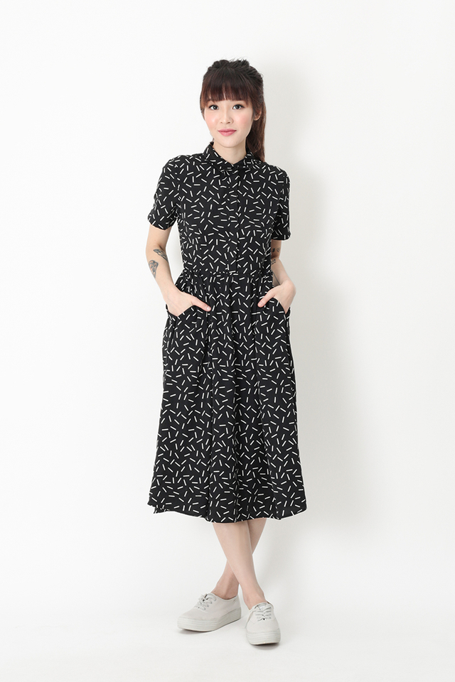 KATIE CONFETTI SHIRT DRESS IN BLACK