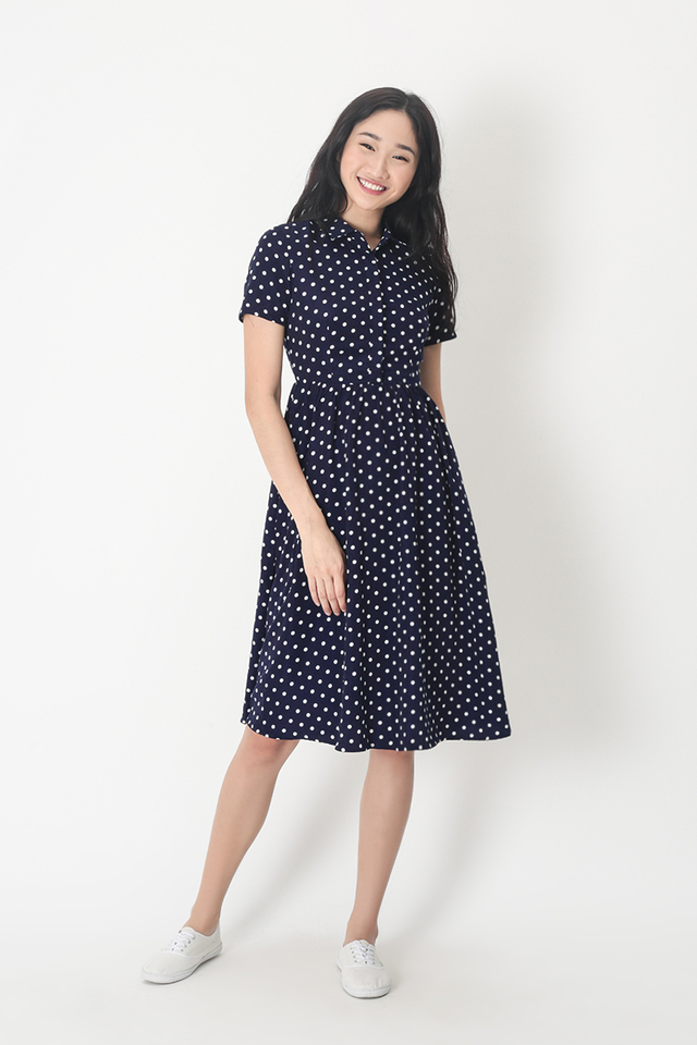 KATIE POLKADOT SHIRT DRESS IN NAVY