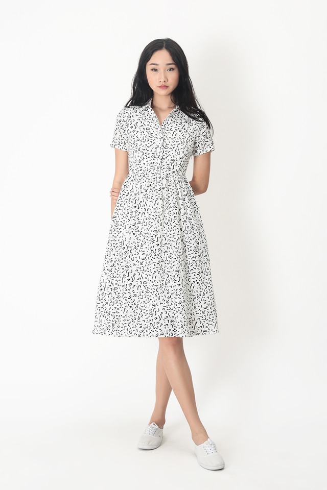 KATIE SCRIBBLES SHIRT DRESS IN WHITE