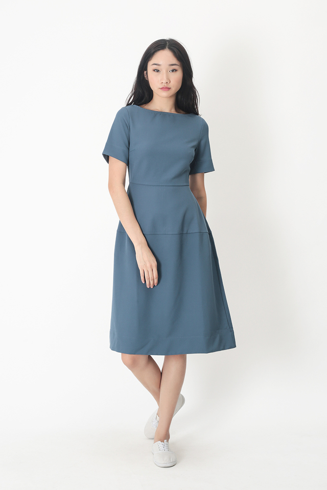 PAIGE BOAT NECK MIDI DRESS IN DUSK BLUE