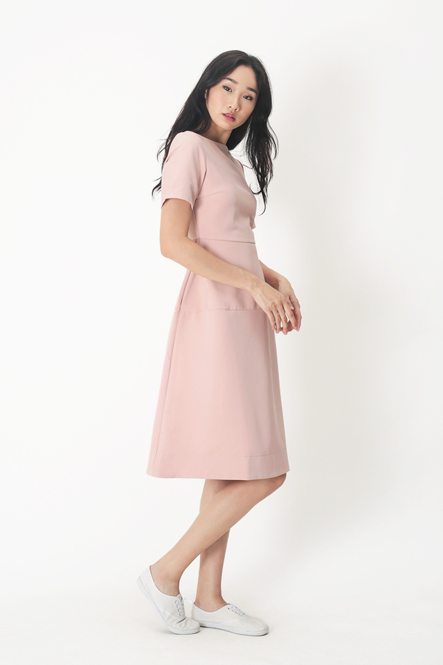 PAIGE BOAT NECK MIDI DRESS IN FRENCH PINK