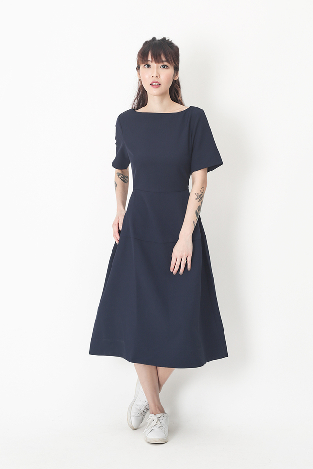 PAIGE BOAT NECK MIDI DRESS IN NAVY