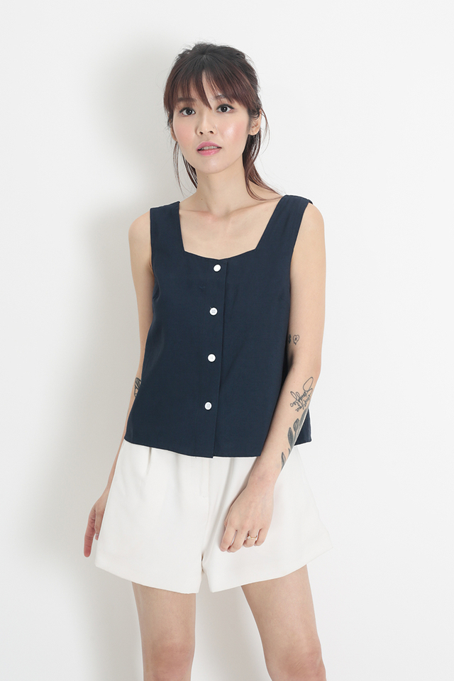 POPPY BUTTON TANK TOP IN NAVY