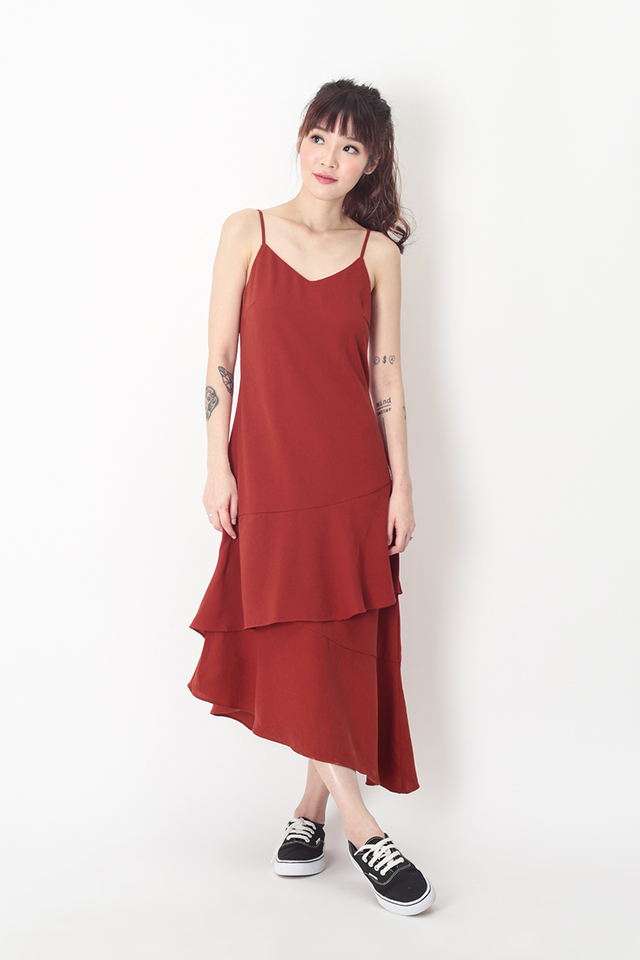SCARLETT FRILL HEM DRESS IN AURORA RED