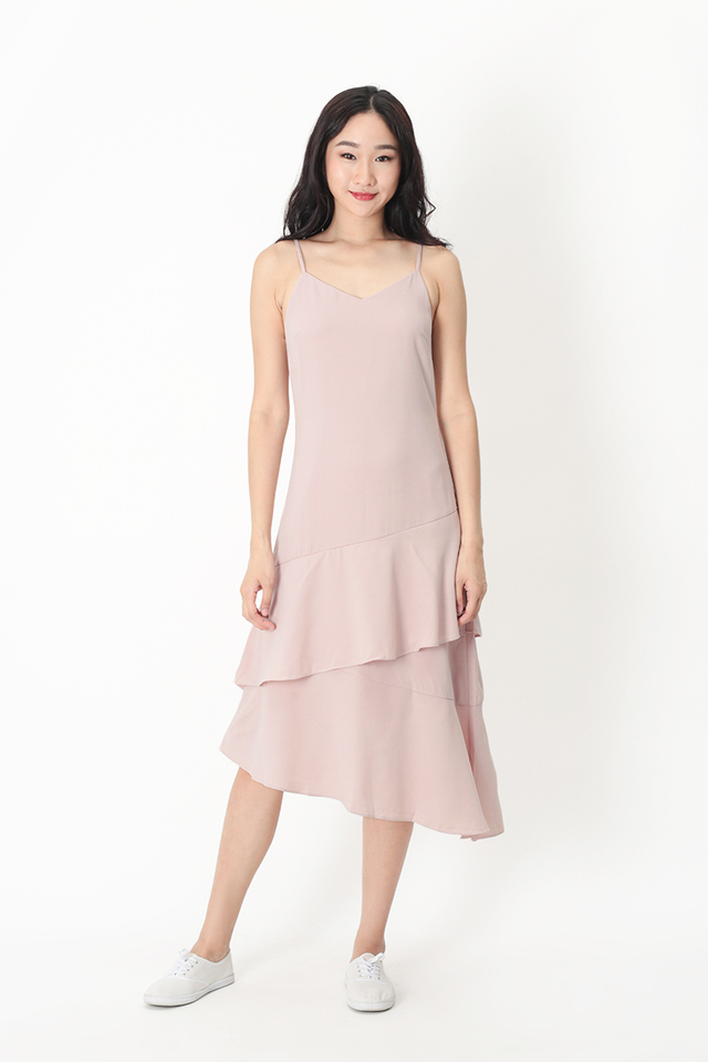 SCARLETT FRILL HEM DRESS IN FRENCH PINK