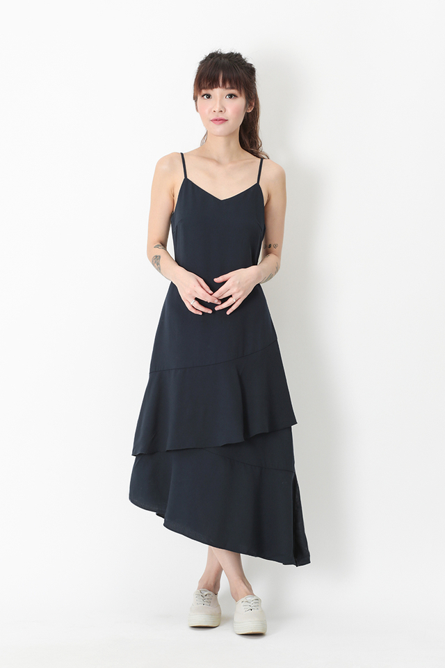 SCARLETT FRILL HEM DRESS IN NAVY
