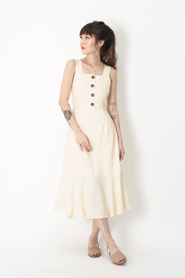 YARA DROP HEM DRESS IN CREAM