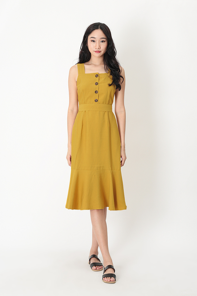 YARA DROP HEM DRESS IN HONEY
