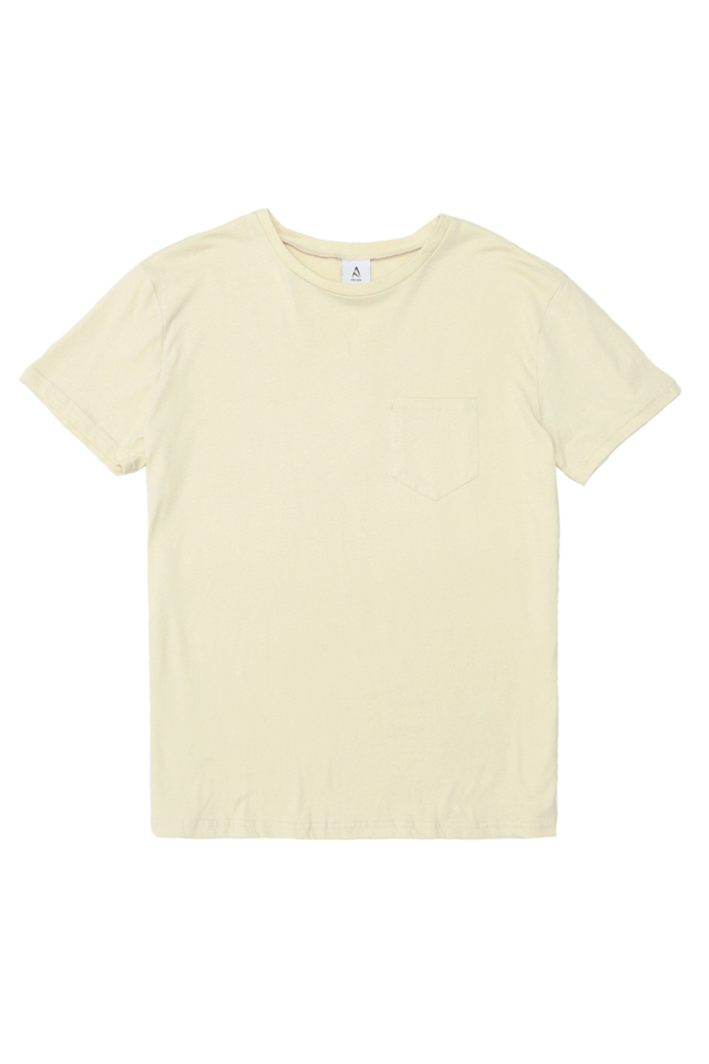 CASEY CREW NECK POCKET TEE IN VANILLA