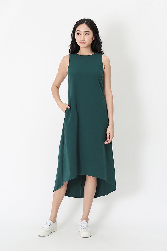 CELINE MIDI TANK DRESS IN FOREST