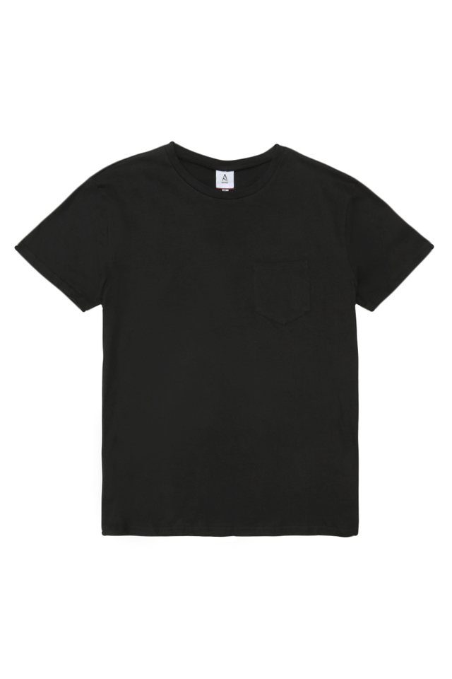 CASEY CREW NECK POCKET TEE IN BLACK