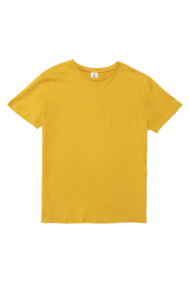 CASEY CREW NECK POCKET TEE IN HONEY