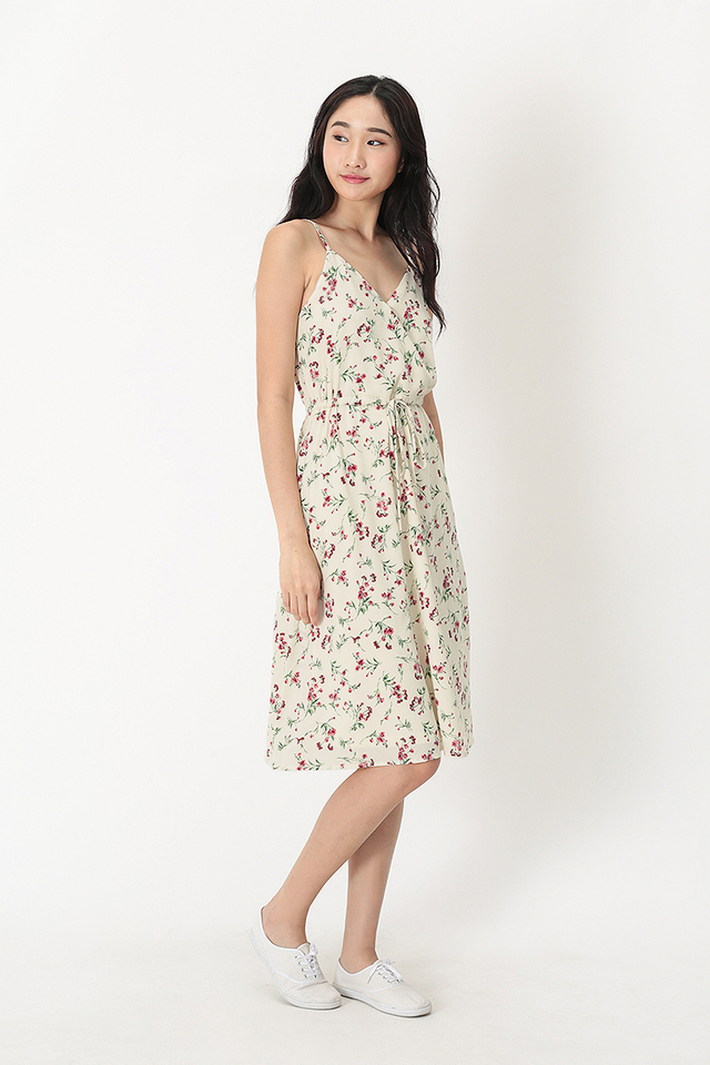 IRIS FLORAL DRAWSTRING DRESS IN CREAM