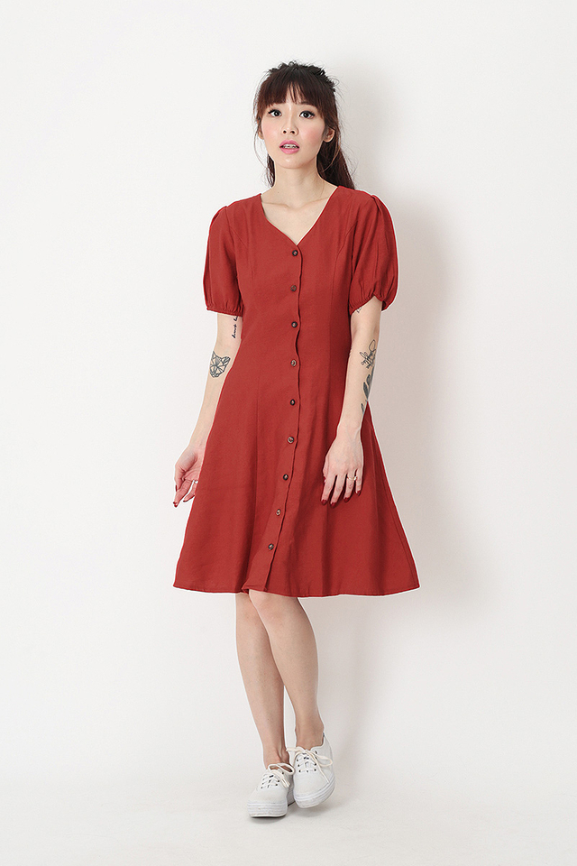 ISADORA PUFF SLEEVE DRESS IN AURORA RED
