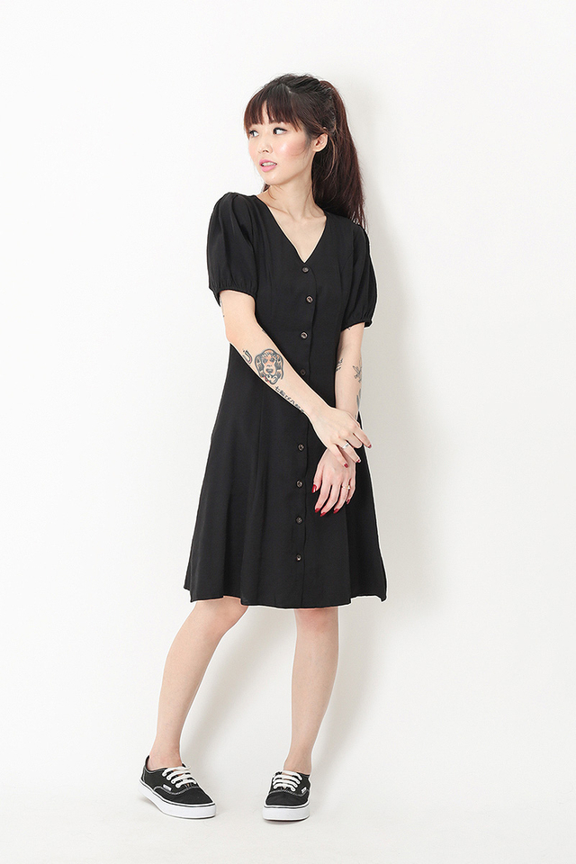 ISADORA PUFF SLEEVE DRESS IN BLACK