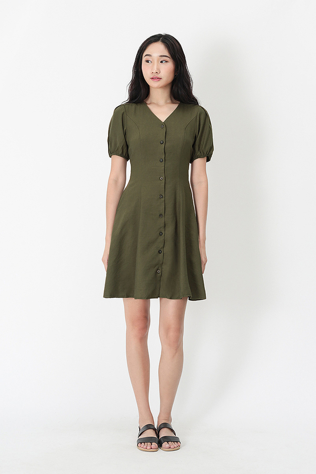 ISADORA PUFF SLEEVE DRESS IN MOSS GREEN