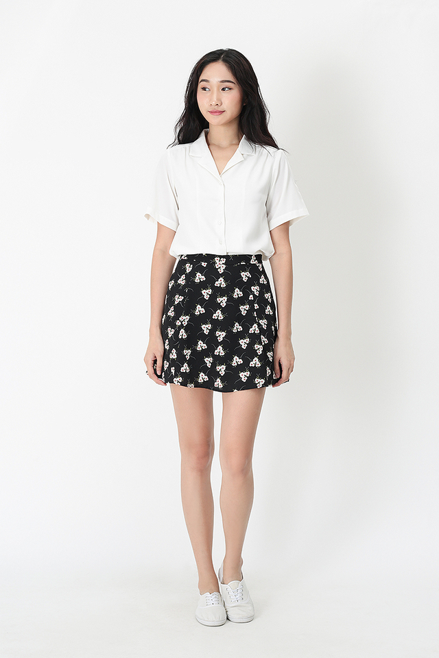 JOSIE FLORAL SWING SKORTS IN BLACK