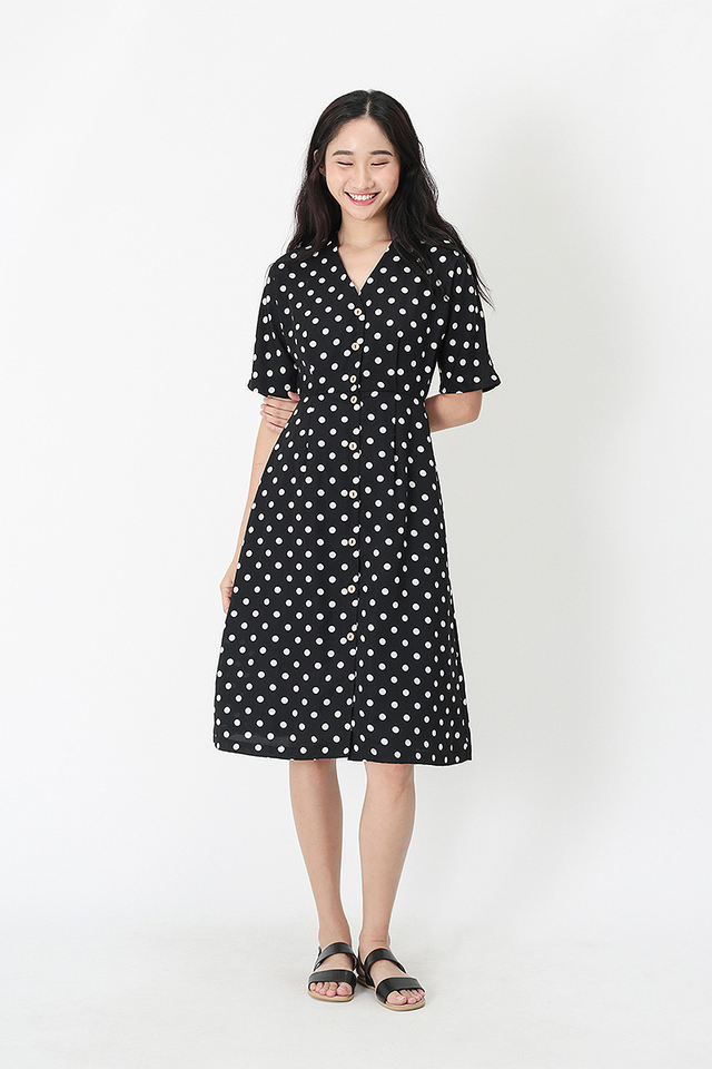 JUDITH POLKADOT MIDI DRESS IN BLACK