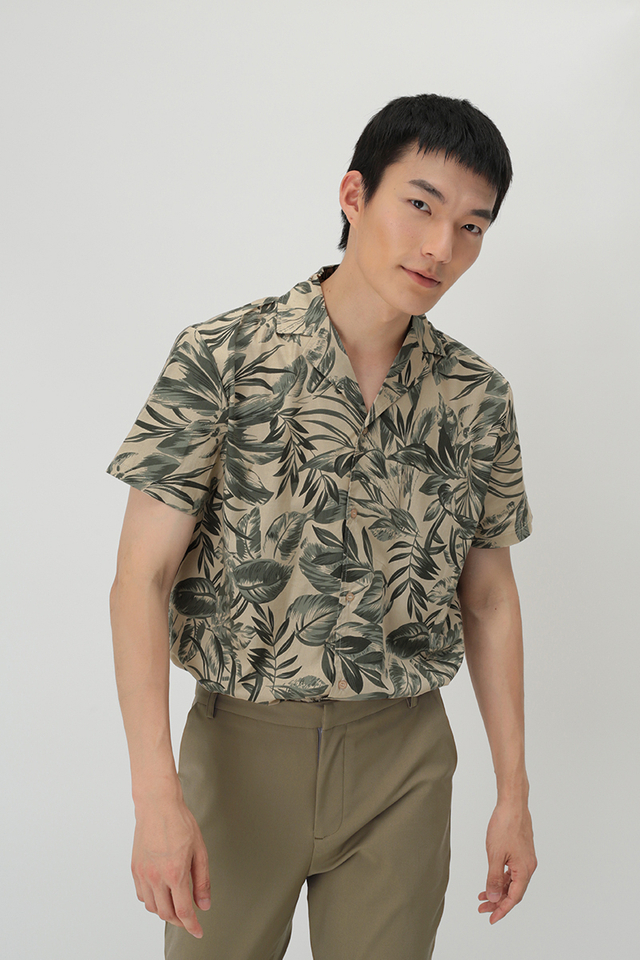 KAI TROPICS CAMP COLLAR SHIRT IN SAND
