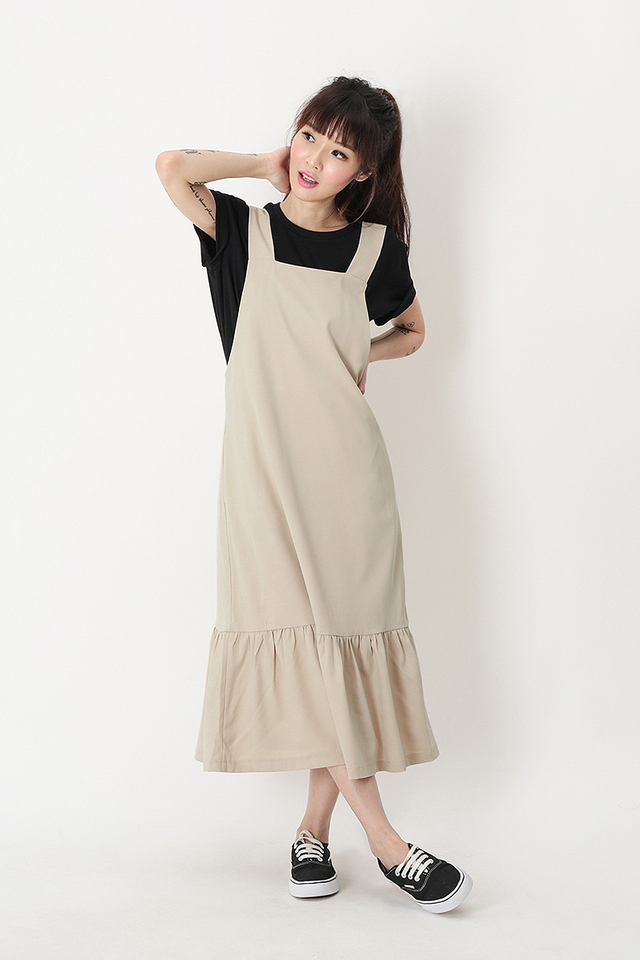 KAMILLE DROP HEM PINAFORE DRESS IN CREAM