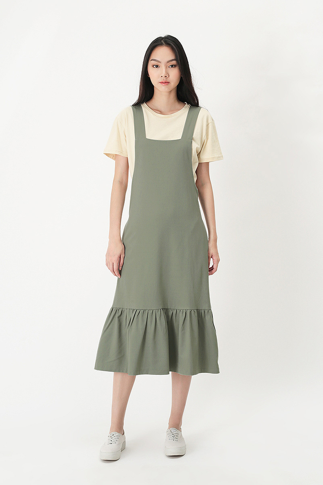 KAMILLE DROP HEM PINAFORE DRESS IN SAGE