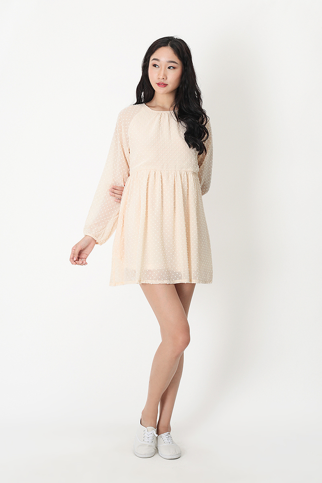 LORRAINE BABYDOLL ROMPER DRESS IN CREAM