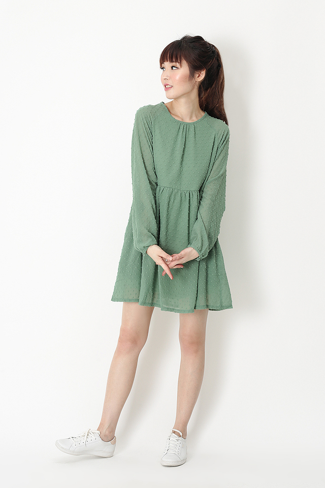 LORRAINE BABYDOLL ROMPER DRESS IN SAGE