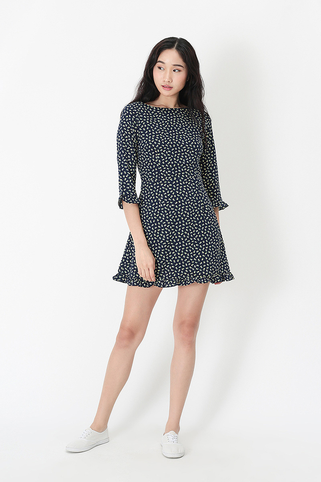 MALLORY MINI HEARTS ROMPER DRESS IN NAVY