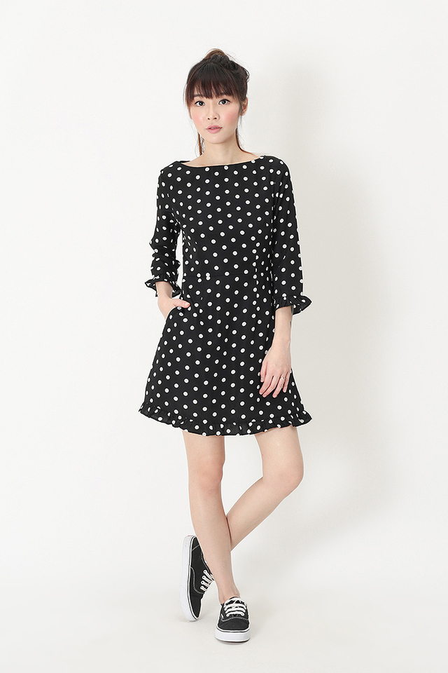 MALLORY POLKADOT ROMPER DRESS IN BLACK