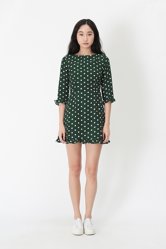 MALLORY POLKADOT ROMPER DRESS IN FOREST