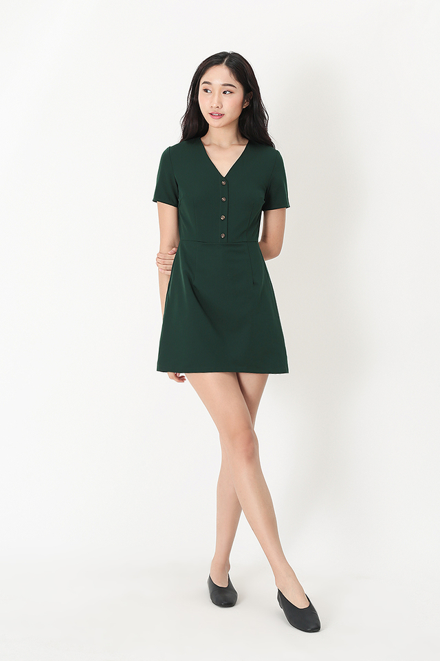 3002eb76 ... MARISSA V-NECK ROMPER DRESS IN FOREST