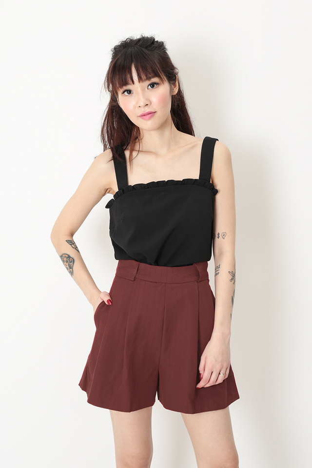 MIA FRILL TOP IN BLACK