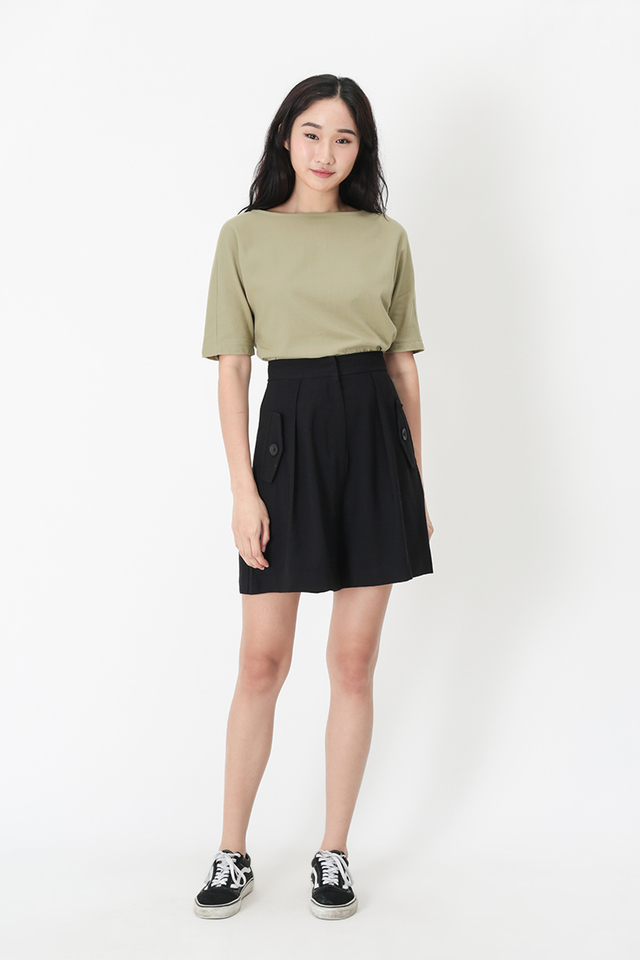 SANDRA LINEN WIDE NECK BLOUSE IN SAGE