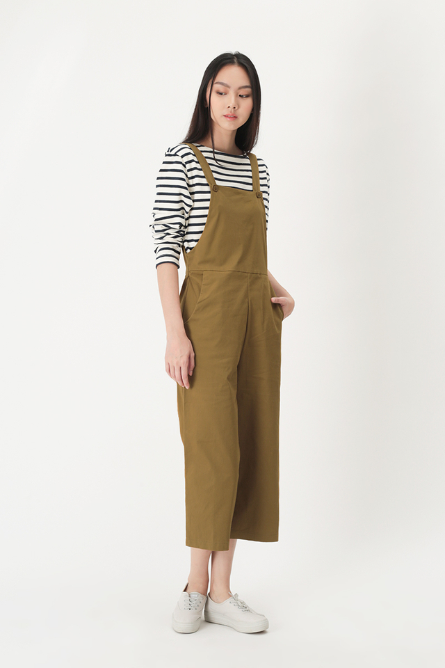 SHANNON BUTTON DUNGAREE IN TOFFEE