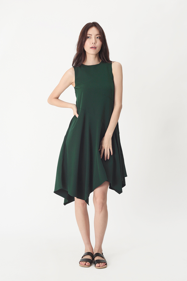 TIFFANY ASYMMETRICAL HEM DRESS IN FOREST