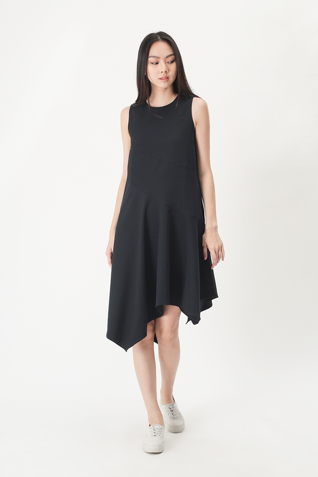 TIFFANY ASYMMETRICAL HEM DRESS IN NAVY