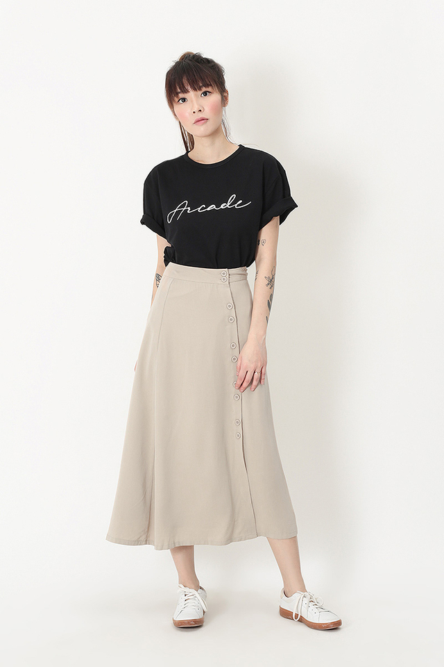 YVONNE DOUBLE BUTTON MIDI SKIRT IN CREAM