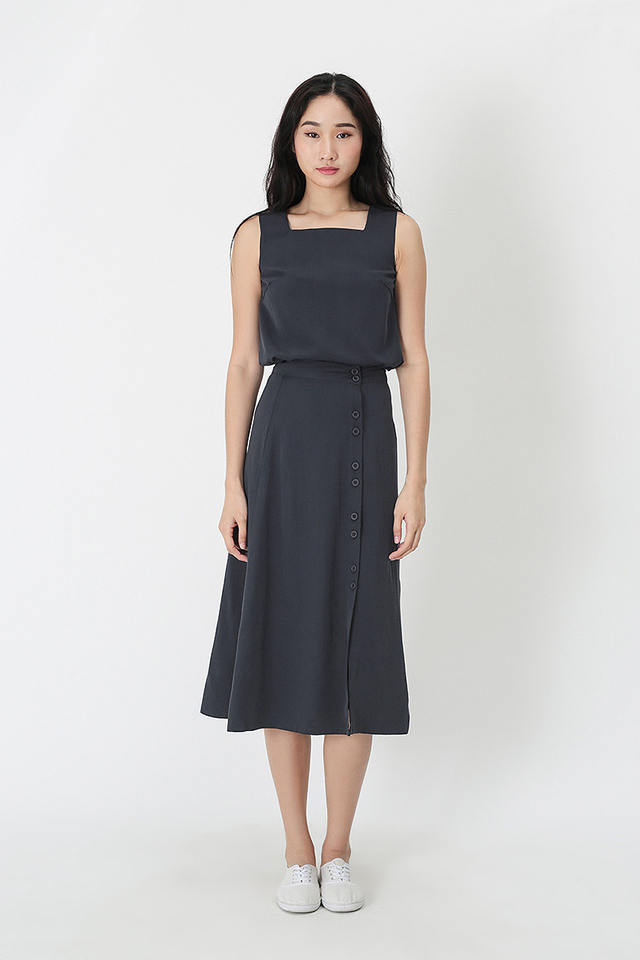 YVONNE DOUBLE BUTTON MIDI SKIRT IN NAVY