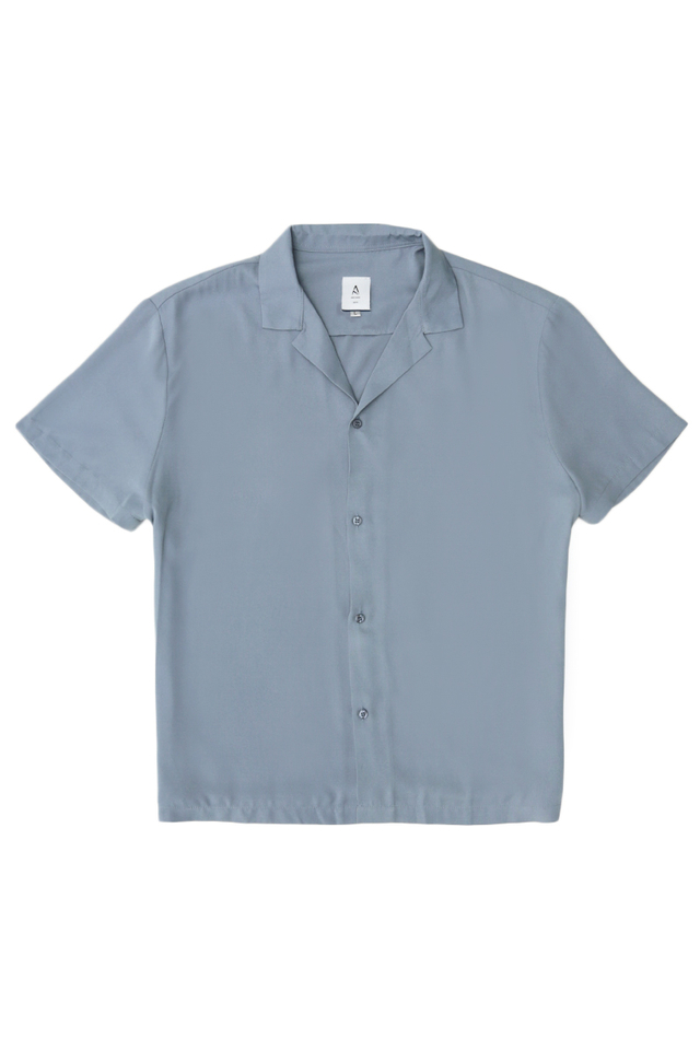 AIDEN CAMP COLLAR SHIRT IN DUSTY BLUE