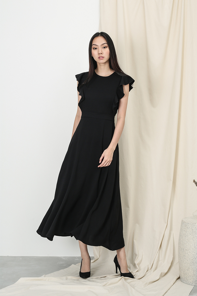 ANNE FLUTTER SLEEVE DRESS IN BLACK