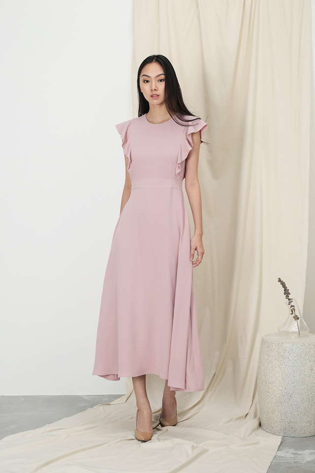 ANNE FLUTTER SLEEVE DRESS IN DUSTY PINK